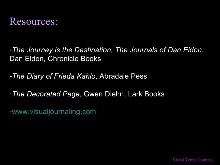 Resources: <ul><li>The Journey is the Destination, The Journals of Dan Eldon , Dan Eldon, Chronicle Books </li></ul><ul><l...