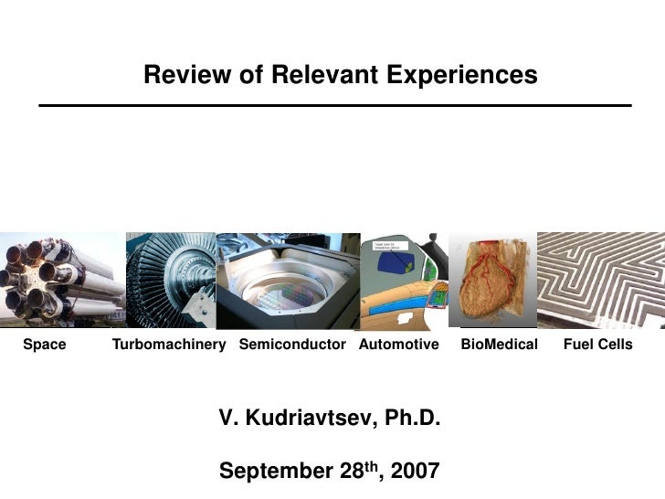 Review of Relevant Experiences     Space   Turbomachinery Semiconductor Automotive   BioMedical   Fuel Cells              ...