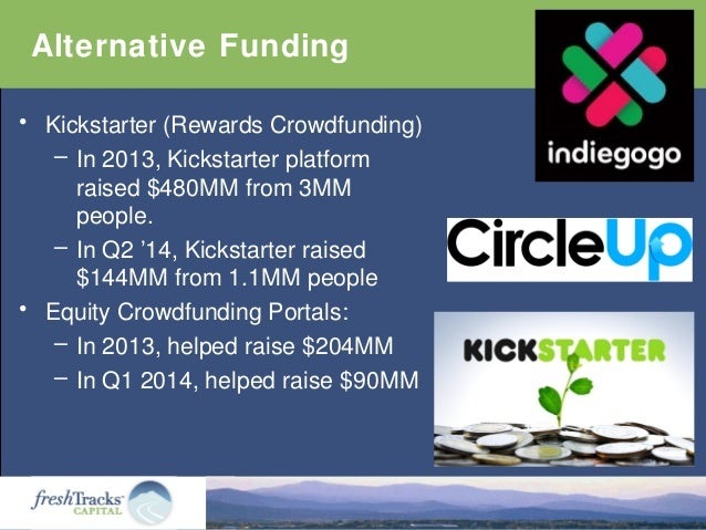 Alternative Funding • Kickstarter (Rewards Crowdfunding) – In 2013, Kickstarter platform raised $480MM from 3MM people. – ...