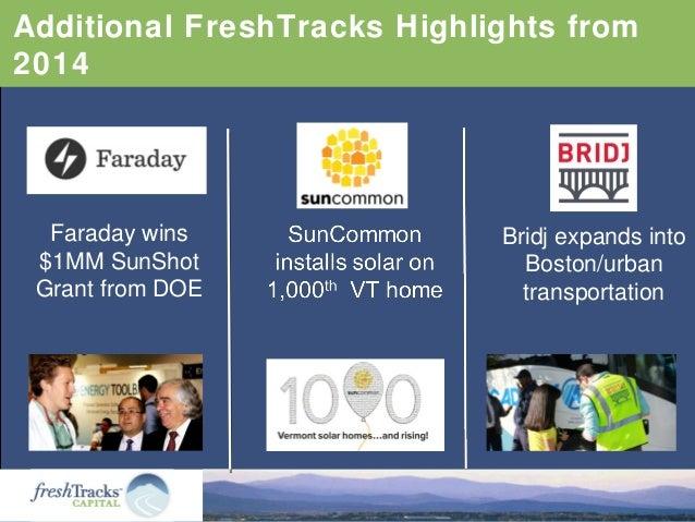 Additional FreshTracks Highlights from 2014 Faraday wins $1MM SunShot Grant from DOE Bridj expands into Boston/urban trans...