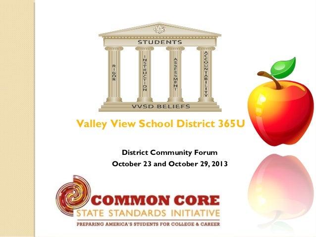 Valley View School District 365U District Community Forum October 23 and October 29, 2013