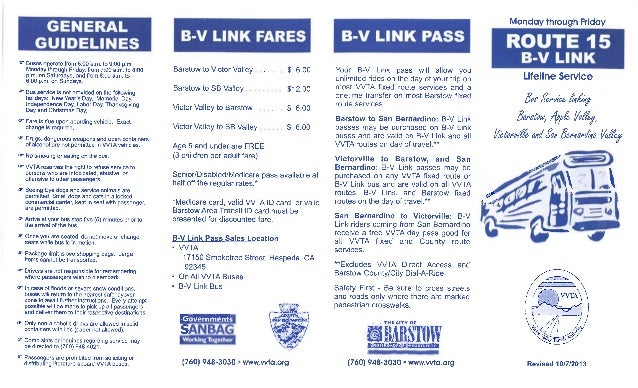 Vvta Bus Route 15 Barstow To Victorville Link Bus Schedule