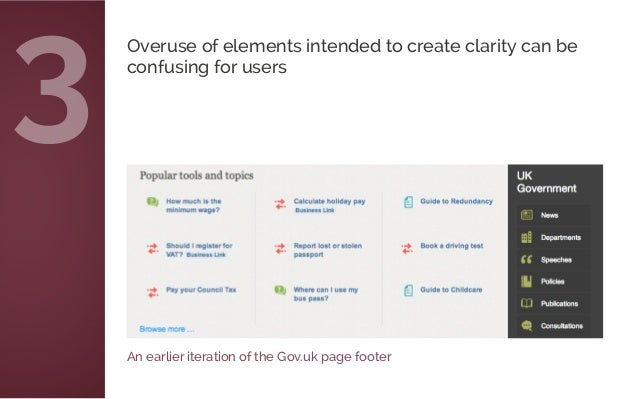 An earlier iteration of the Gov.uk page footer Overuse of elements intended to create clarity can be confusing for users 3