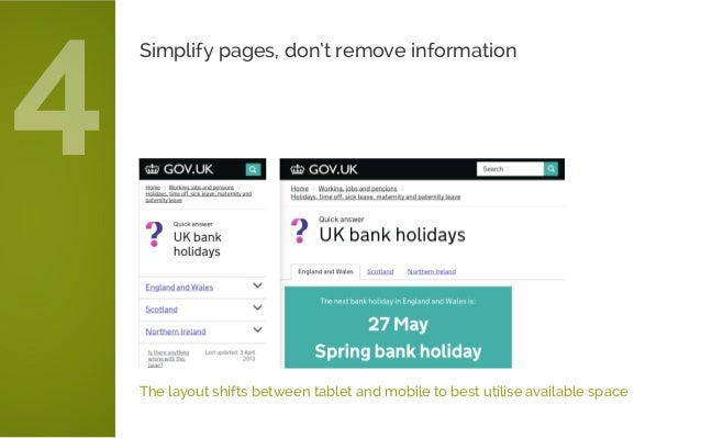 The layout shifts between tablet and mobile to best utilise available space Simplify pages, don't remove information 4