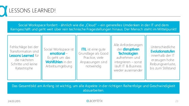 """LESSONS LEARNED! Social Workspace fordert - ähnlich wie die """"Cloud"""" – ein generelles Umdenken in der IT und dem Kerngeschä..."""