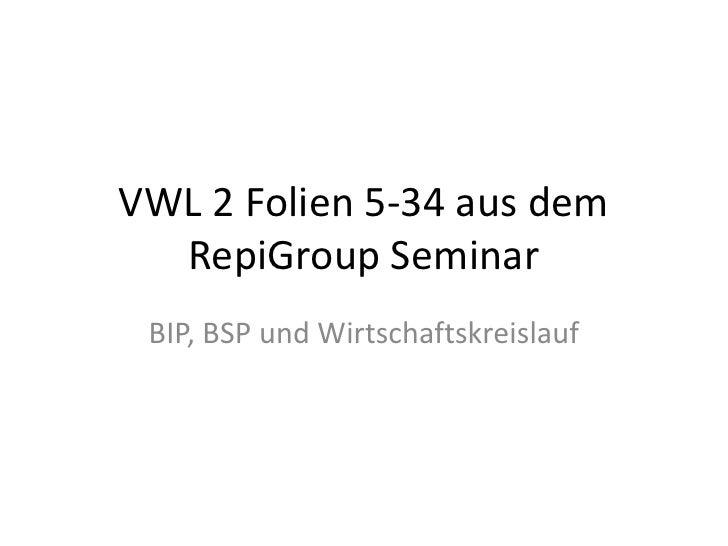 VWL 2 Folien 5-34 aus dem RepiGroup Seminar<br />BIP, BSP und Wirtschaftskreislauf<br />