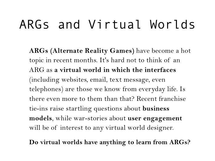 ARG Panel at VWLondon Slide 2
