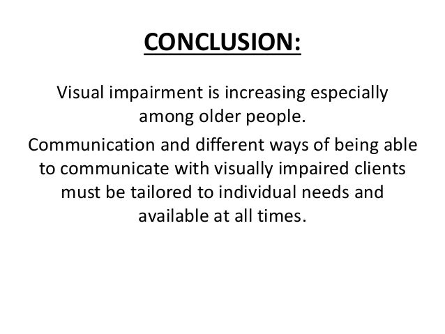 hearing and visual impairments Free essay: running head: hearing and visual hearing and visual impairment bonnie j hatch grand canyon university spe 526 may 19, 2010 abstract the abstract.