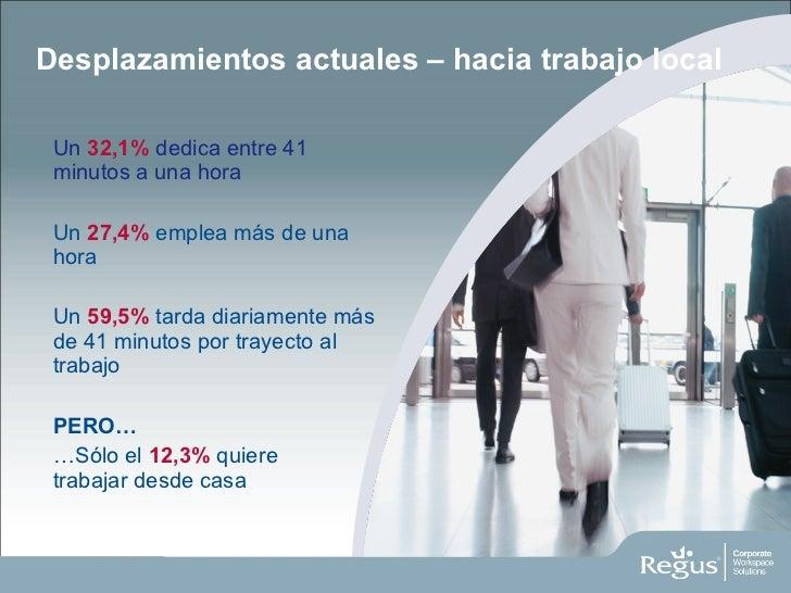 Desplazamientos actuales – hacia trabajo local <ul><li>Un  32,1%  dedica entre 41 minutos a una hora </li></ul><ul><li>Un ...