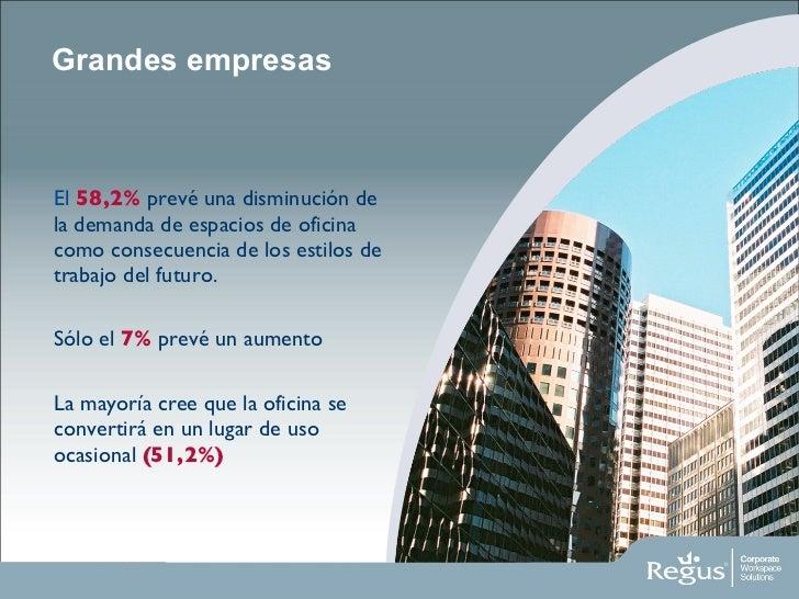 Grandes empresas <ul><li>El   58,2%  prevé una disminución de la demanda de espacios de oficina como consecuencia de los e...