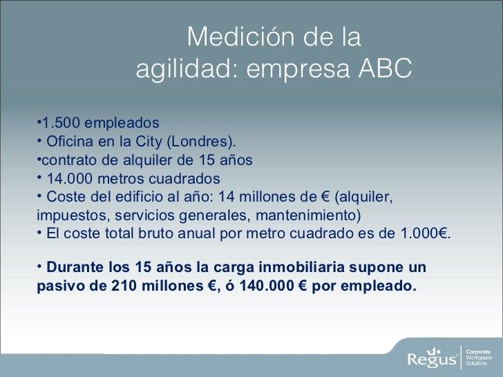 Medición de la agilidad: empresa ABC <ul><li>1.500 empleados </li></ul><ul><li>Oficina en la City (Londres).  </li></ul><u...