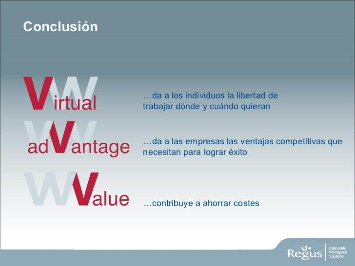 Conclusión … da a los individuos la libertad de trabajar dónde y cuándo quieran … da a las empresas las ventajas competiti...