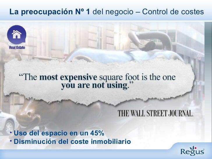 La preocupación Nº 1  del negocio – Control de costes <ul><li>Uso del espacio en un 45% </li></ul><ul><li>Disminución del ...
