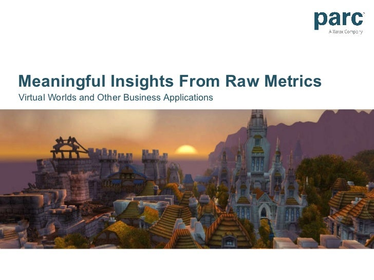 Meaningful Insights From Raw Metrics Virtual Worlds and Other Business Applications