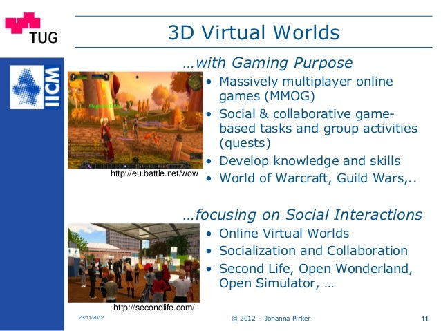 3D Virtual Worlds © 2012 - Johanna Pirker23/11/2012 11 …with Gaming Purpose • Massively multiplayer online games (MMOG) • ...