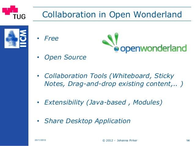 Collaboration in Open Wonderland © 2012 - Johanna Pirker23/11/2012 14 • Free • Open Source • Collaboration Tools (Whiteboa...
