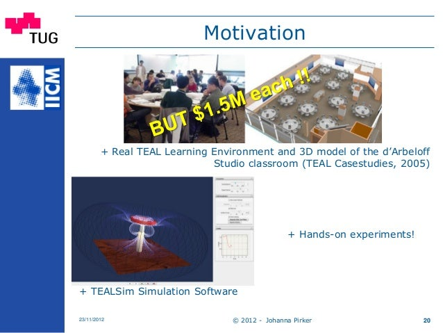 Motivation + Real TEAL Learning Environment and 3D model of the d'Arbeloff Studio classroom (TEAL Casestudies, 2005) + Han...