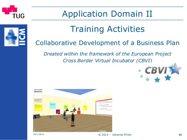 Application Domain II Training Activities Collaborative Development of a Business Plan Dreated within the framework of the...