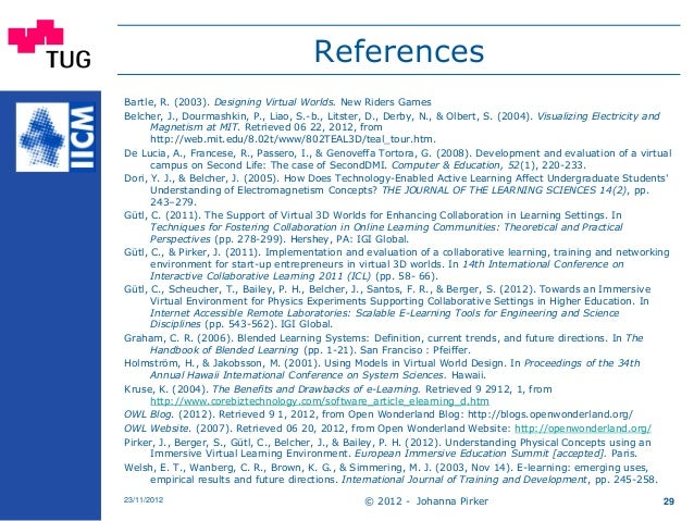 References Bartle, R. (2003). Designing Virtual Worlds. New Riders Games Belcher, J., Dourmashkin, P., Liao, S.-b., Litste...