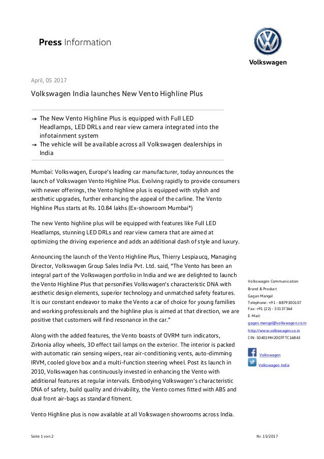 new car dealership press releaseVW Vento Highline Plus Launch Press Release