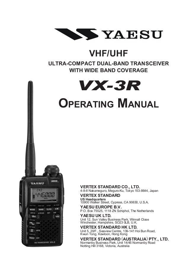 vx 3 r operating manual rh slideshare net radio yaesu ftm 3100 manual radio yaesu ft 1900 manual