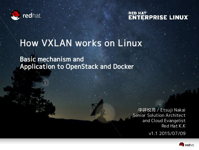How VXLAN works on Linux Basic mechanism and Application to OpenStack and Docker ]中井悦司 / Etsuji Nakai Senior Solution Arch...