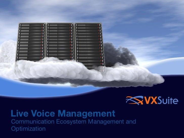 VXSuiteLive Voice ManagementCommunication Ecosystem Management andOptimization