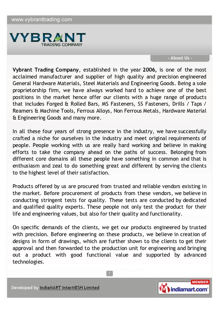 Vybrant Trading Company, Mumbai, Industrial Metal Products  Slide 2