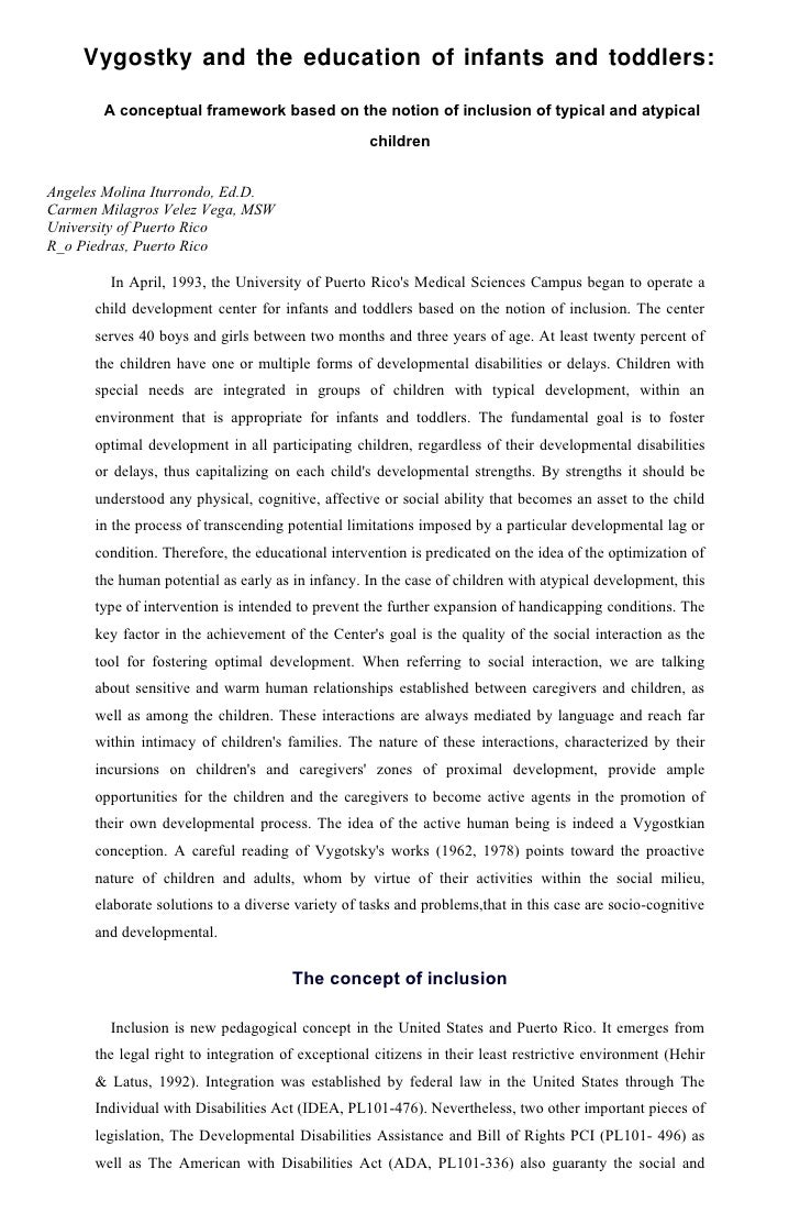 Vygostky and the education of infants and toddlers:         A conceptual framework based on the notion of inclusion of typ...