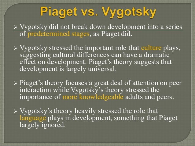 a comparison of lev vygotsky and jean piagets theories In this essay i will compare and contrast the theories of piaget and vygotsky,  jean piaget and lev vygotsky jean piaget was known for his establishment of the.