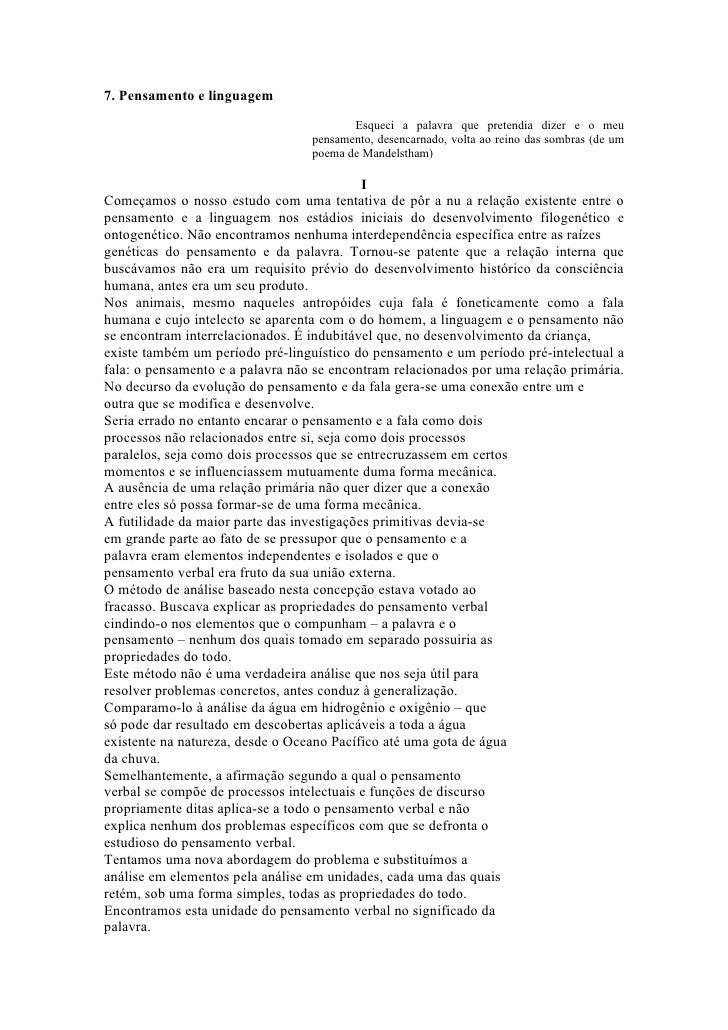 Vygotsky pensamento e linguagem cap7