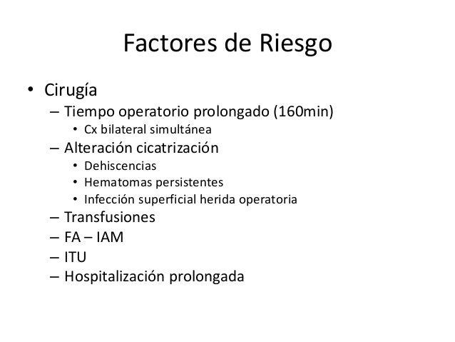 Factores de Riesgo • Cirugía – Tiempo operatorio prolongado (160min) • Cx bilateral simultánea – Alteración cicatrización ...