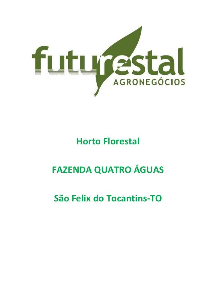 Horto Florestal<br />FAZENDA QUATRO ÁGUAS<br />São Felix do Tocantins-TO<br />