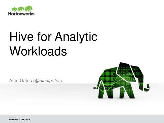 © Hortonworks Inc. 2013.© Hortonworks Inc. 2013. Hive for Analytic Workloads Alan Gates (@alanfgates)