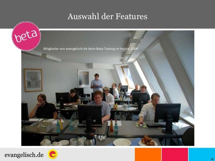 Auswahl der Features Mitglieder von evangelisch.de beim Beta-Testing im Herbst 2009