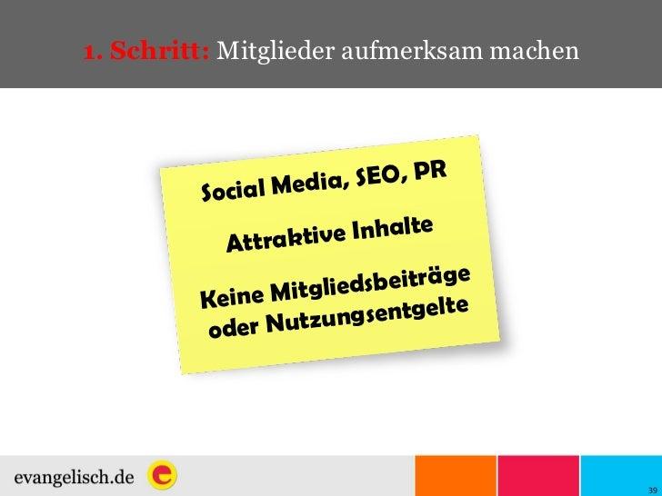 1. Schritt:  Mitglieder aufmerksam machen Social Media, SEO, PR Attraktive Inhalte Keine Mitgliedsbeiträge oder Nutzungsen...