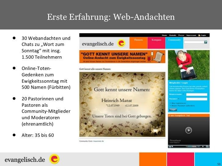 """Erste Erfahrung: Web-Andachten <ul><li>30 Webandachten und Chats zu """"Wort zum Sonntag"""" mit insg. 1.500 Teilnehmern </li></..."""