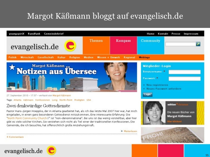 Margot Käßmann bloggt auf evangelisch.de