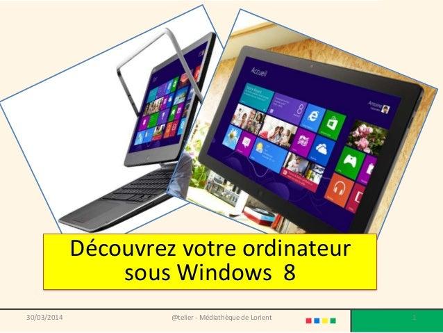 @telier - Médiathèque de Lorient 130/03/2014 Découvrez votre ordinateur sous Windows 8