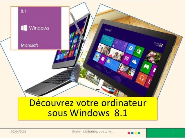 @telier - Médiathèque de Lorient 102/04/2015 Découvrez votre ordinateur sous Windows 8.1
