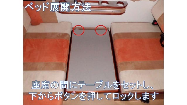 エアコンについて • 2段ベッド上のエアコンは外部から電源をとって使います。 • エアコン使用する際は収納扉を開けて使います。 • リアエアコンはカーエアコンと連動しています。エンジン停止では使 えません。