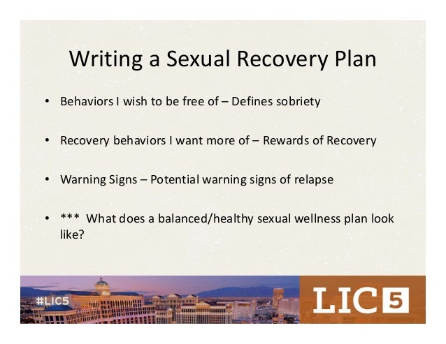 Sexual addiction recovery plan