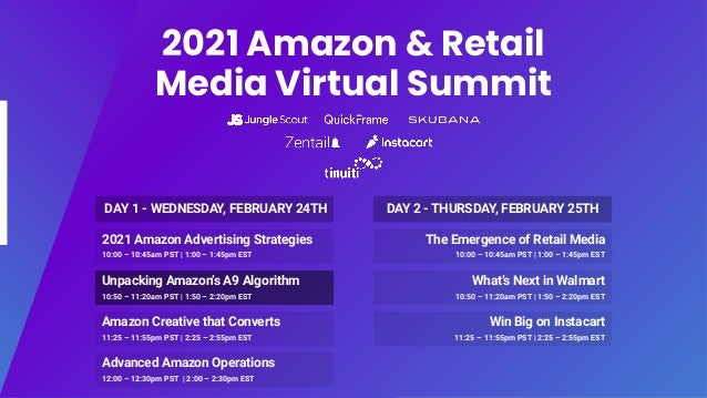 2021 Amazon & Retail Media Virtual Summit 2021 Amazon Advertising Strategies 10:00 – 10:45am PST | 1:00 – 1:45pm EST Unpac...