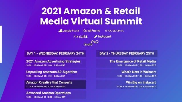 2021 Amazon & Retail Media Virtual Summit 2021 Amazon Advertising Strategies 10:00 – 10:45am PST | 1:00 – 1:45pm EST Unpac...