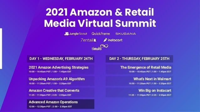 2021 Amazon & Retail Media Virtual Summit 2021 Amazon Advertising Strategies 10:00 – 10:45am PST   1:00 – 1:45pm EST Unpac...