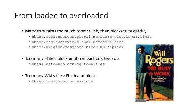 From loaded to overloaded • MemStore takes too much room: flush, then blocksquite quickly • hbase.regionserver.global.mems...