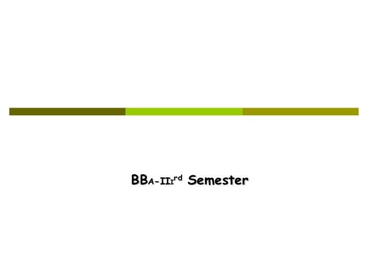BB A -II I rd   Semester