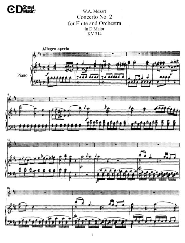 W.a. mozart   concert no. 2 for flute and orchestra in d major kv 314 (piano)