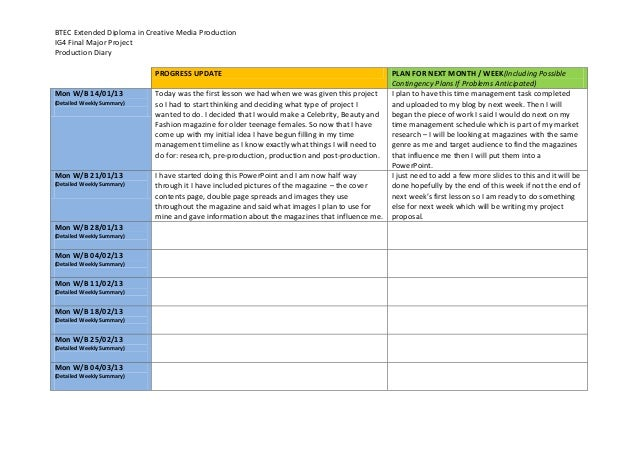 BTEC Extended Diploma in Creative Media ProductionIG4 Final Major ProjectProduction DiaryPROGRESS UPDATE PLAN FOR NEXT MON...