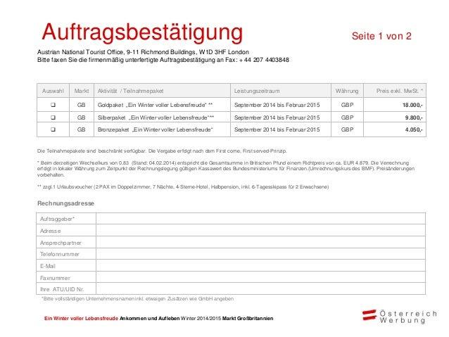 Ein Winter voller Lebensfreude Ankommen und Aufleben Winter 2014/2015 Markt Großbritannien Die Österreich W erbung freut s...